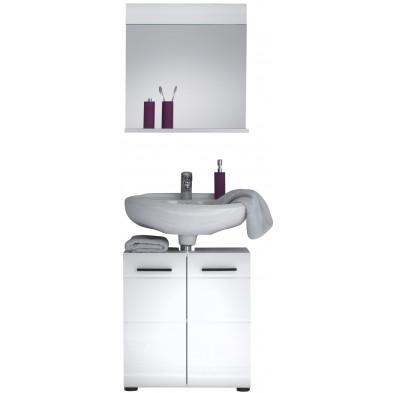 Meubles de salle de bain 2 pièces coloris blanc L. 60 x P. 31 x H. 182 cm collection Zwalm