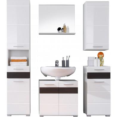 Meubles de salle de bains 5 pièces coloris blanc et chêne Melinga gris L. 160 x P. 34 x H. 182 cm collection Martham