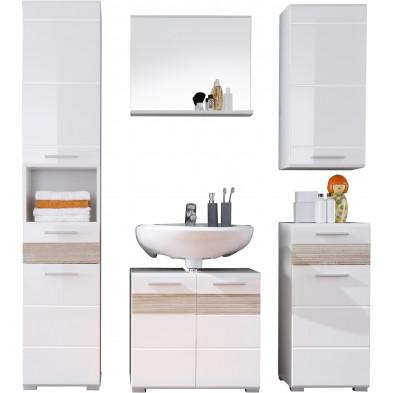 Meubles de salle de bains 5 pièces coloris blanc et chêne San Remo L. 160 x P. 34 x H. 182 cm collection Martham