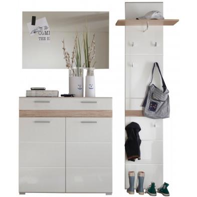 Vestiaire avec meuble à chaussure , miroir et meuble vestiaire coloris blanc et chêne de San Remo L. 171 x P. 34 x H. 195 cm collection Janbon