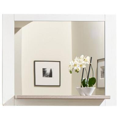 Miroir de salle de bain avec 1 tablette coloris pin blanc L. 99 x P. 15 x H. 80  collection Forbid