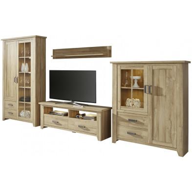 Ensemble meuble TV avec 1 banc TV, 2 vitrines et 1 étagère coloris chêne L. 389 x P. 48 x H. 206 cm collection Trabulheira