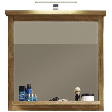 Miroir de salle de bain contemporain avec 1 tablette coloris chêne L. 75 x P. 14 x H. 74 cm collection Take