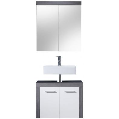 Meubles de salle de bain 2 pièces coloris blanc et gris anthracite L. 72 x P. 34 x H. 174 cm collection Aberfan