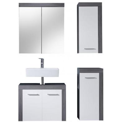 Meubles de salle de bain 4 pièces coloris blanc et gris anthracite L. 123 x P. 34 x H. 184 cm collection Aberfan