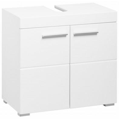Meuble sous vasque 2 portes coloris blanc L. 60 x P. 34 x H. 56 cm collection Mayla