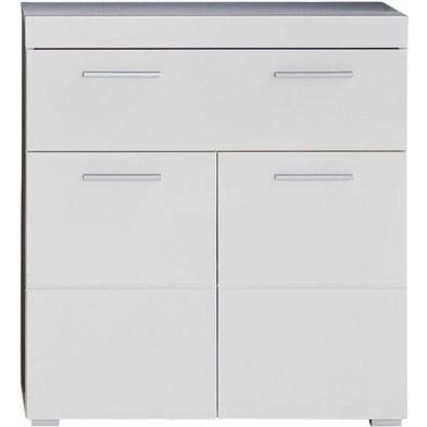 Armoire de rangement pour salle de bain à 2 portes et 1 tiroir coloris blanc L. 73 x P. 31 x H. 79 cm collection Mayla