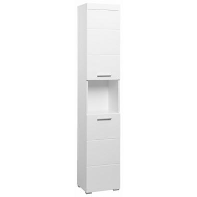 Colonne de rangement pour salle de bain design coloris blanc L. 37 x P. 31 x H. 190 cm collection Mayla