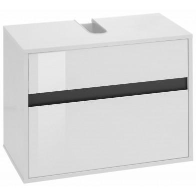 Meuble sous-vasque de salle de bain 1 tiroir coloris blanc L. 67 x P. 36 x H. 52 cm collection Sluis