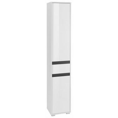 Colonne de rangement 2 portes et 1 tiroir coloris blanc L. 35 x P. 31 x H. 191 cm collection Sluis