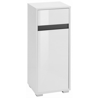 Armoire de rangement pour salle de bain 1 porte et 1 tiroir coloris blanc et gris L. 35 x P. 31 x H. 89 cm collection Sluis