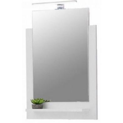 Miroir de salle de bain avec 1 tablette coloris blanc L. 50 x P. 12 x H. 71 cm collection Tick