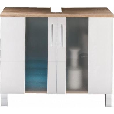 Meuble sous vasque 2 portes coloris chêne Sagerau et blanc L. 65 x P. 31 x H. 54 cm collection Cheriton