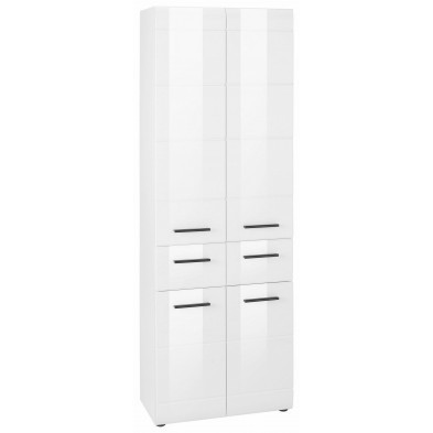 Armoire de rangement pour salle de bain coloris blanc laqué L. 60 x P. 31 x H. 182 cm collection Zwalm