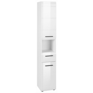 Colonne de rangement pour salle de bain design  coloris blanc L. 30 x P. 31 x H. 182 cm collection Zwalm