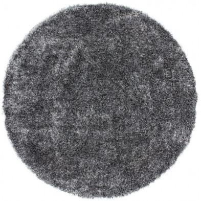 Tapis shaggy moderne coloris gris avec  des motifs uni L. 120 x P. 120 x H. 5 cm Collection Wailuku