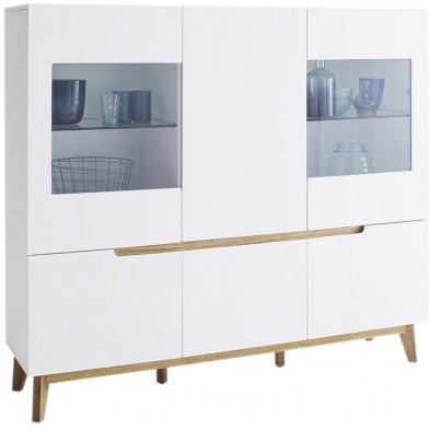 Vaisselier 6 portes blanc design Scandinave en Bois mdf et hêtre L. 155 x P. 40 x H. 138 cm collection Vanloenen