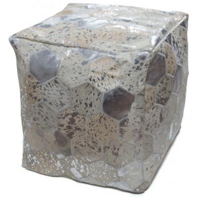 Pouf gris vintage en L. 45 x P. 45 x H. 45 cm avec des motifs geometriques collection Blainelake