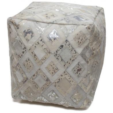 Pouf en cuir véritable gris vintage L. 45 x P. 45 x H. 45 cm avec des motifs géométriques collection Threatening