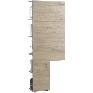 Colonne de rangement pour meuble TV beige design en bois mdf L. 55 x P. 22 x H. 145 cm collection Minhotaes