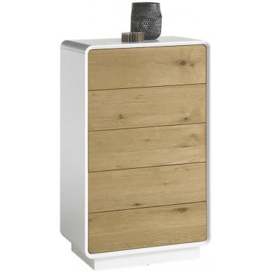 Commode 5 tiroirs design marron et blanc mat en bois mdf avec placage huilé chêne noueux sur les façades avant L. 60 x P. 40 x H. 100 cm collection Ibtibam