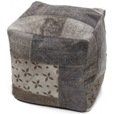 Pouf gris vintage en cuir véritable L. 40 x P. 40 x H. 40 cm avec des motifs ethniques collection Normal