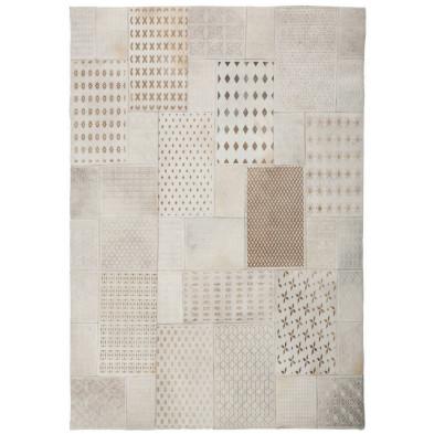 Tapis retro & patchwork beige vintage tissé à la main en cuir véritable 230 cm de largeur collection Normal