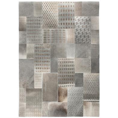 Tapis vintage en cuir véritable gris avec des motifs ethnique L. 230 x P. 160 x H. 1 cm Collection Normal