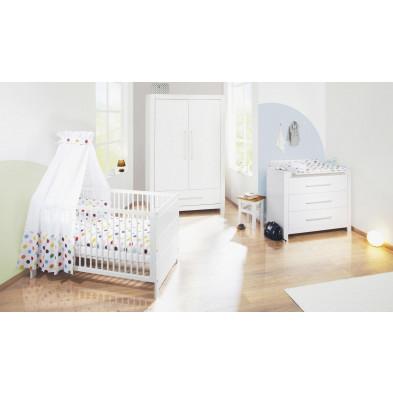 Pack chambre bébé blanc design en bois massif collection Heaton