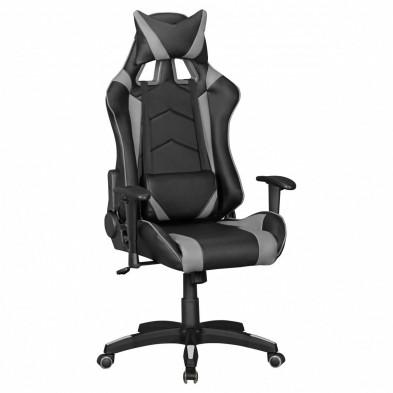 Chaise de bureau gamer gris design L. 70 x P. 70-100 x H. 130 - 140 cm collection Heinsburg