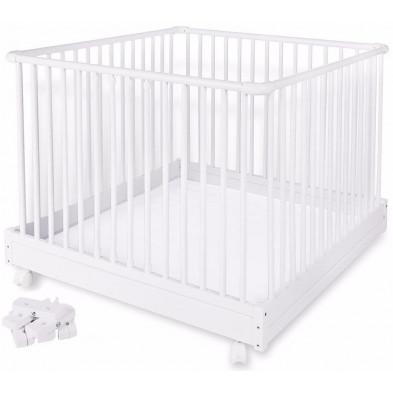 Parc pour bébé design blanc en bois massif hêtre L. 100 x H. 76 cm collection Engrave