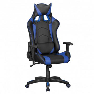 Chaise de bureau gamer bleu design L. 70 x P. 70-100 x H. 130 - 140 cm collection Heinsburg