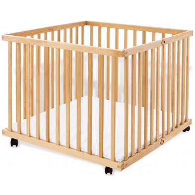 Parc pour bébé design marron en bois massif hêtre L. 97 x H. 75 cm collection Mcnaught