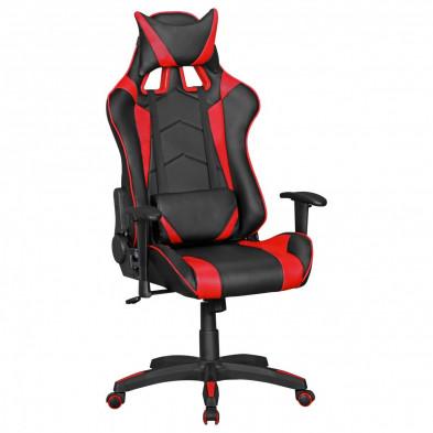 Chaise de bureau gamer noir design L. 70 x P. 70-100 x H. 130 - 140 cm collection Heinsburg