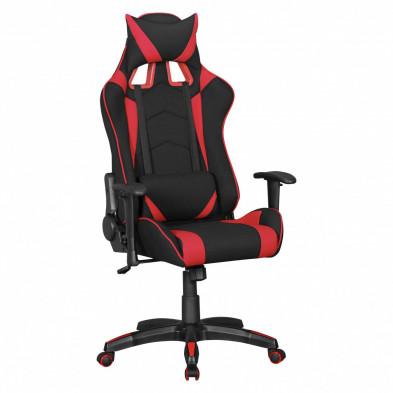 Chaise de bureau gamer noir design en polyester L. 70 x P. 70-100 x H. 130 - 140 cm collection Heinsburg