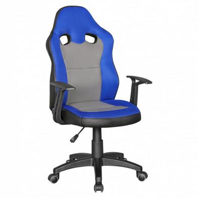 Chaise de bureau gamer bleu design en polyester L. 42 x P. 42 x H. 90 - 100 cm collection Mibenwilhams