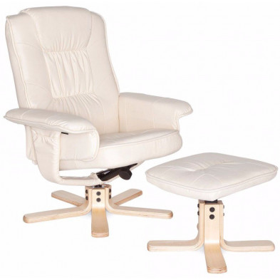 Fauteuil relax blanc design en pvc 1 place L. 80 x P. 80 x H. 100 cm collection Ariz