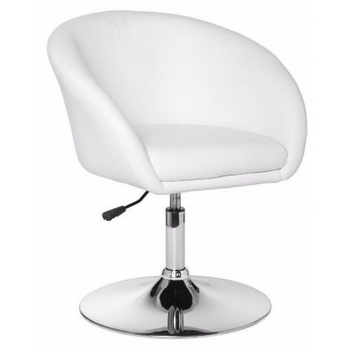 Fauteuil moderne blanc design en pvc 1 place L. 62 x P. 62 x H. 72 - 84 cm collection Mosinee