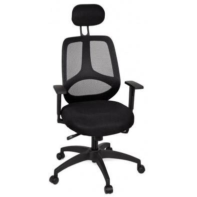Chaise et fauteuil de bureau noir design en tissu L. 61 x H. 113 - 127 cm x P.57 cm collection Niek