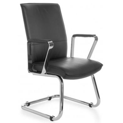 Chaise de bureau noir design en pvc L. 61 x H. 95 cm x P.54 cm collection Vivy