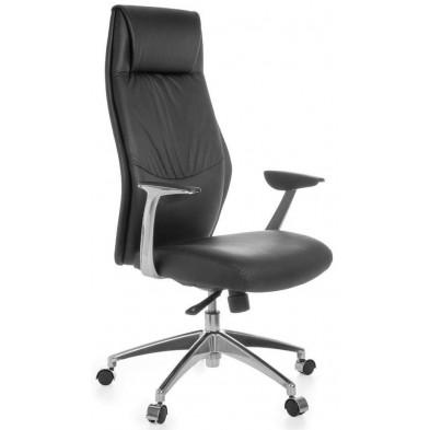 Chaise et fauteuil de bureau noir design en cuir véritable L. 67 x H. 117 - 125 cm x P.58 cm collection Aziza