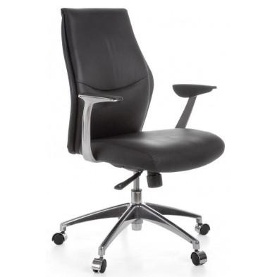 Chaise et fauteuil de bureau noir design en cuir véritable L. 58 x H. 99 - 107 x 58 cm collection Aziza
