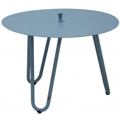 Table d'appoint de jardin design bleu en aluminium L. 60 x H. 40 cm x P. 60 cm Collection Jamal