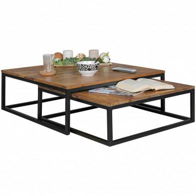 Table basse en bois marron contemporain en acier L. 75 x P. 75 x H. 27 cm collection Scherer