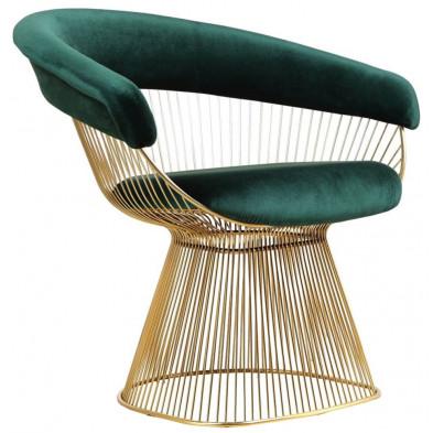 Fauteuil design revetement en velour vert et piètement en acier inoxydable poli doré collection Fenda