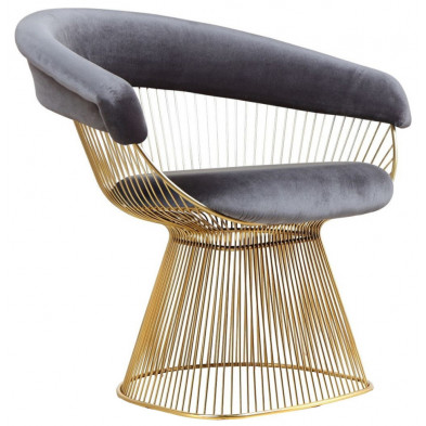 Fauteuil design revetement en velour gris et piètement en acier inoxydable poli doré collection Fenda