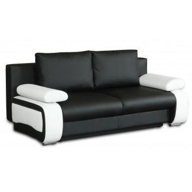 Canapé convertible design à 2 places en pvc  noir et blanc avec coffre de rangement L. 200 x P. 97 x H. 90 cm collection Madone