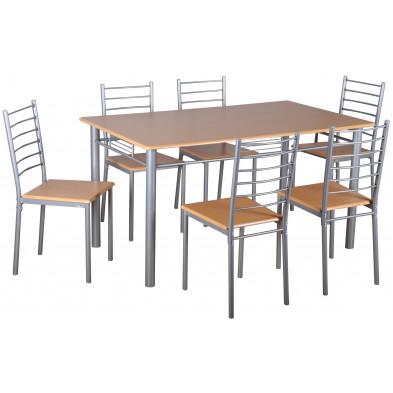 Ensemble de table à manger avec ses 6 chaises en MDF et métal coloris naturel L. 147 x P. 86 x H. 76 cm collection Konstantin