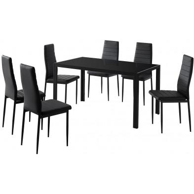 Ensemble de table à manger avec ses 6 chaises en verre et métal coloris noir L. 133 x P. 80 x H. 75 cm collection Hatch