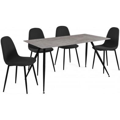 Ensemble de table à manger avec ses 4 chaises en MDF et métal coloris noir et effet béton L. 140 x P. 80 x H. 72.5 cm collection Hijken